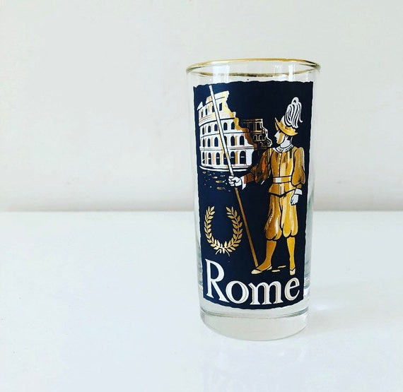 Vintage Travel Souvenir ROME Glass Mid Century Black and Gold Retro High Ball Cocktail Glass