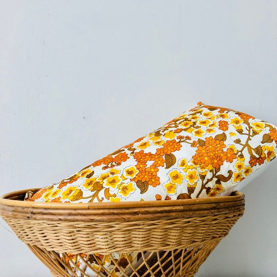 "Boho Orange Yellow Floral Pillow Cover 14""x24"" Lumbar Cushion Cover Retro Vintage Flower Fabric Autumn Fall Decor Boho Pillow"