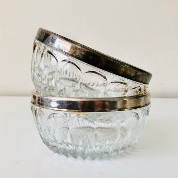 Vintage silver Plated Glass Bowls Set of (2) Clear Cut Glass Snack Bowls
