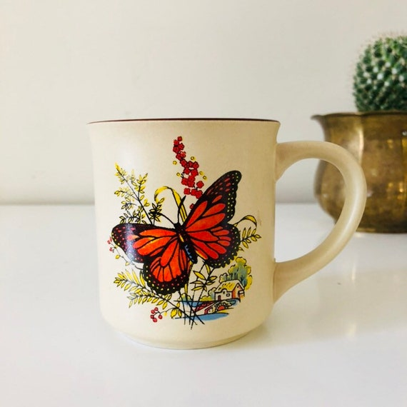 Vintage Butterfly Coffee Mug Ceramic Beige Coffee Cup Colorful Floral Butterfly Landscape Boho Drinkware