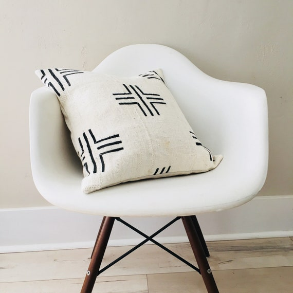 "Boho White Black Tribal Pillow Cover 18""x18"" Square Cushion Pillow Ethnic Bohemian African Geometric Motif MudCloth Boho Pillow"