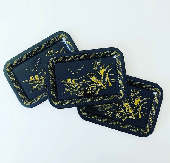 Vintage Black + Gold Metal Tole Trays Set of (3) Handpainted Asian Landscape with Birds Metal Plates
