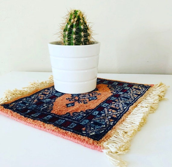 Vintage Pink Oriental Carpet Miniature Wool Table Mat Rug Dusty Rose Plant Coaster Boho Decor Placemat