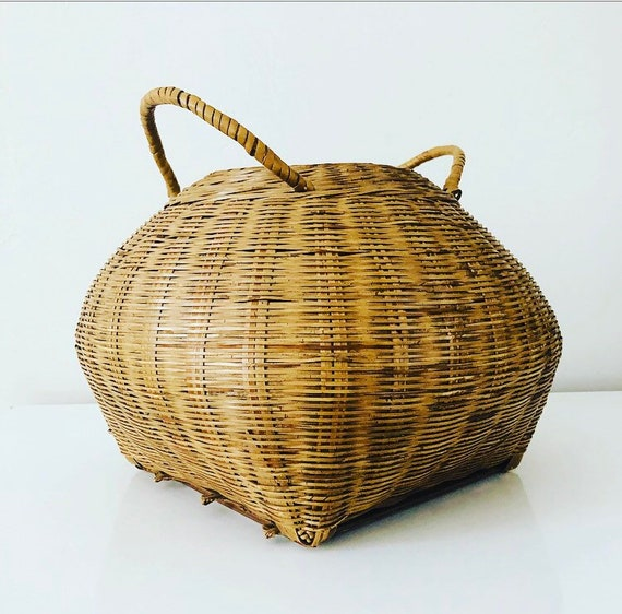 Vintage Rattan Basket Decorative Woven Wicker Basket with Handles Boho Decor