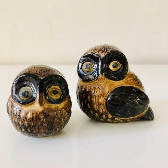 Vintage Brown Ceramic Owls Set of (2) Small Mid Century Owl Figurines Woodland Bird Statues Boho Decor