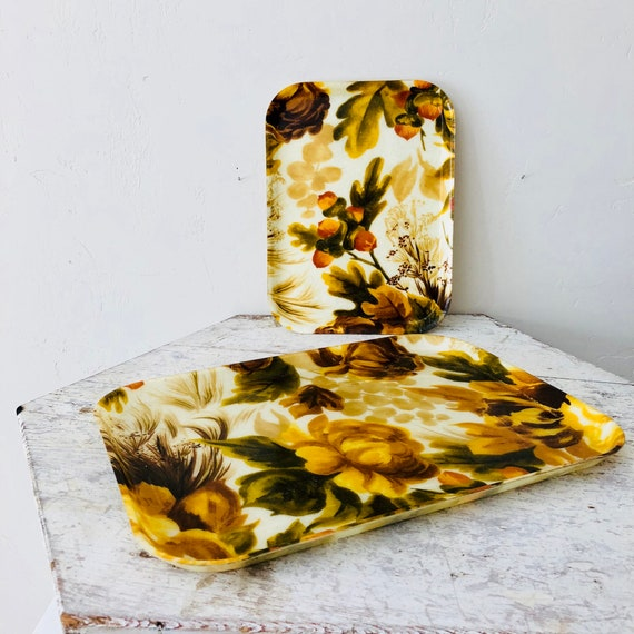Vintage Yellow Floral Fiberglass Tray Retro Autumn Rose Flower Small Mid Century Fiberglass Tray