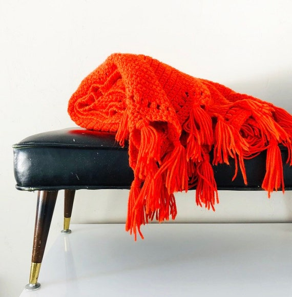 Vintage Orange Knit Afghan Hand Crochet Throw Blanket