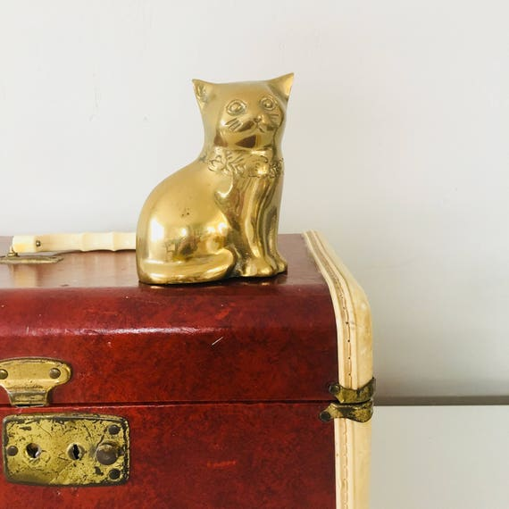 Vintage Brass Cat Rose Collared Gold Brass Cat Paperweight Brass Figurine