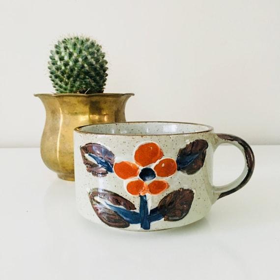 Vintage Stoneware Coffee Mug Retro Orange Navy Blue Flower Floral Speckled Soup Bowl Ceramic Tea Mug