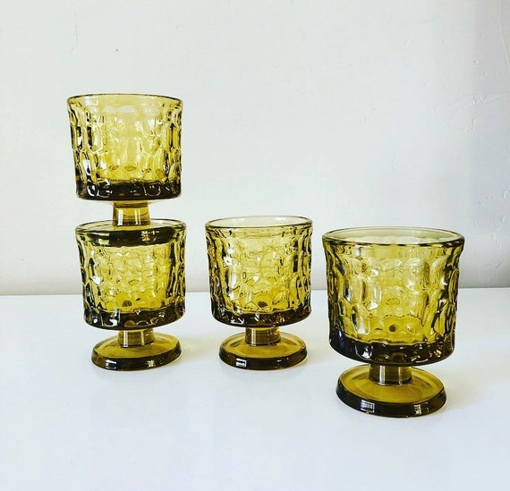 Vintage Yellow Textured Cocktail Glasses Set of (4) Heavy Mid Century Round Pedestal Glasses