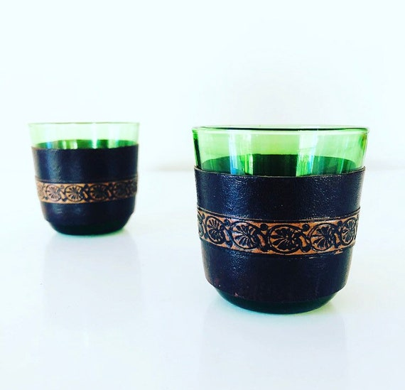 Vintage Emerald Green Liqueur.Shot Glasses Set of (2) Tooled Leather Sleeve Barware