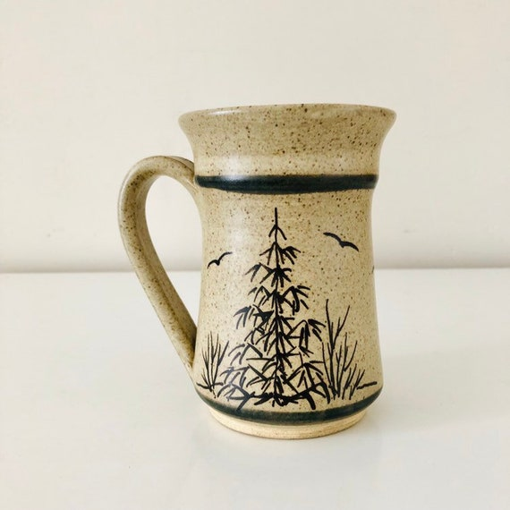 Vintage Stoneware Mug Speckled Ceramic Coffee Cup Hand Painted Birds Tree Outdoors