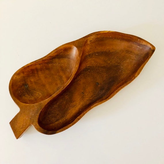 Vintage Handcarved Wood Leaf Shaped Serving Tray Mid Century Wooden Dish/Tray Teak Wood
