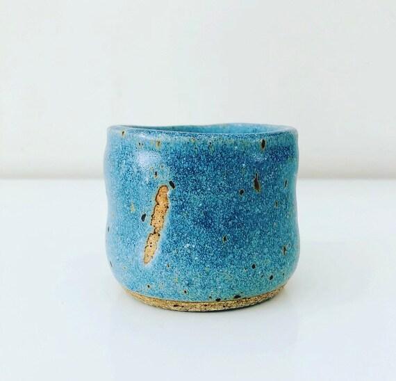 Vintage Blue Stoneware Tea Mug Handmade Ceramic Cup Boho Decor