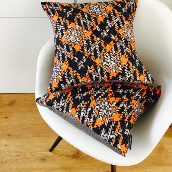 "SALE Orange Abstract Boho Pillow Cover 18""x18"" Square Cushion Pillow Ethnic Bohemian Black Taupe Orange Grey Stylized Floral Motif"