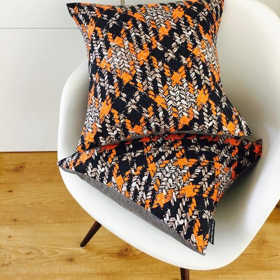"SALE Orange Abstract Boho Pillow Cover 18""x18"" Square Cushion Pillow Ethnic Bohemian Black Taupe Orange Grey Stylized Floral Motif"