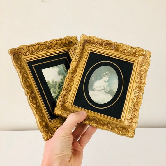 Vintage Gold Framed Wall Hangings Set of (2) Pastoral Landscape and Classic Girl Portrait Ornate Gold Resin Frames Glamorous Wall Decor