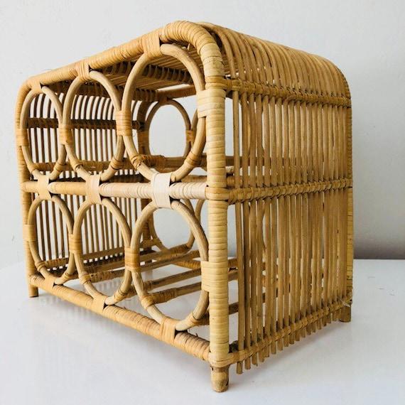 Vintage Wicker Wine Rack Bamboo Woven Rattan Tabletop Bottle Holder Wicker Storage Boho Decor