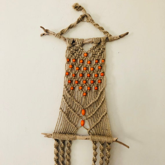 Vintage Macrame Wall Hanging Natural Braided Orange Beaded Dual Plant Hanger