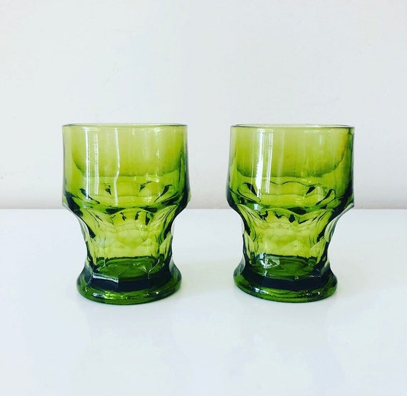 Vintage Green Glassware Set of (2) Mid Century Avocado Green Glass Tumblers Boho Barware