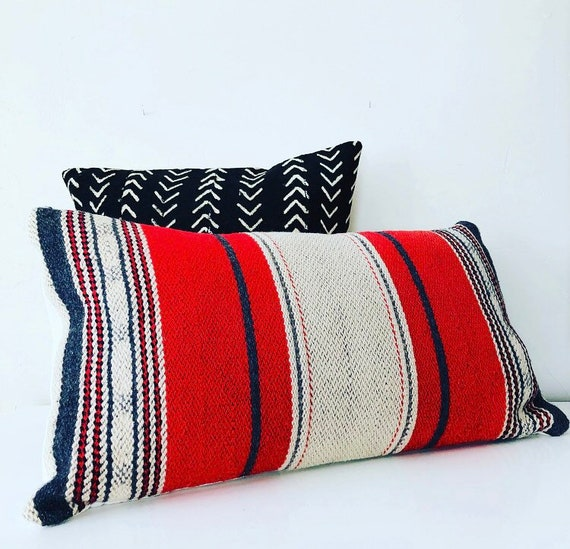 Red Ivory and Gray Striped Wool Pillow Cover Vintage Handmade Wool Blanket Cushion Cover