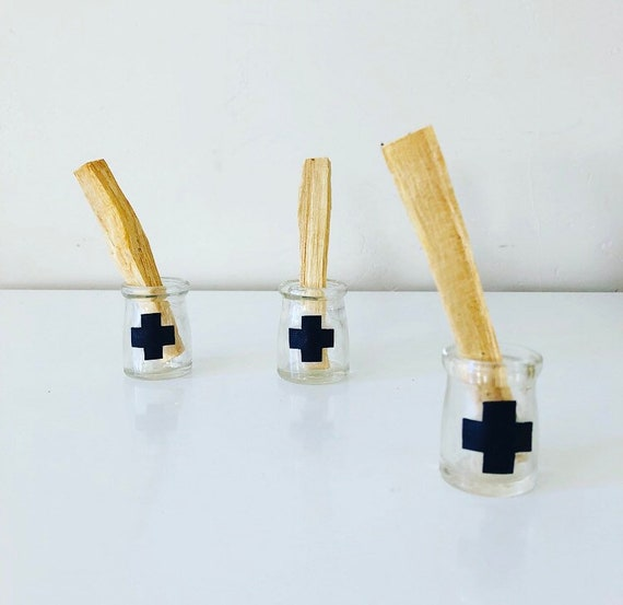 Palo Santo Incense Stick Holy Wood Smudge Stick Vintage Clear Glass Miniature Jar Burner with  Black Leather Swiss Cross
