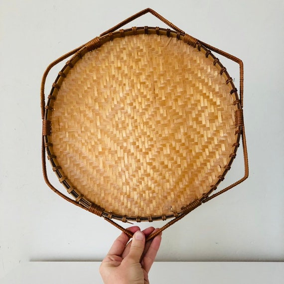 Vintage Woven Rattan Basket Serving Tray Medium Octagon Framed Round Shaped Tribal Geometric Pattern Basket Boho Wall Hanging Decor