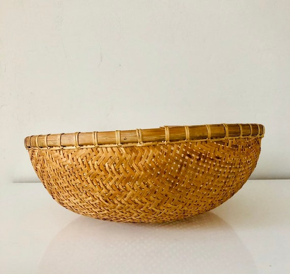Vintage Rattan Basket Large Woven Wicker and Bamboo Rice Bowl Basket Boho Decor