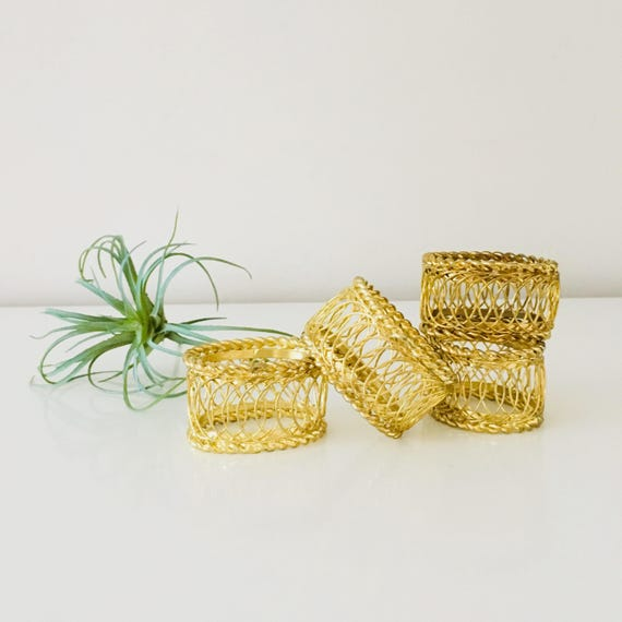 Vintage Brass Napkin Rings Set of (4) Hollywood Regency Gold Wire Brass Napkins Holders