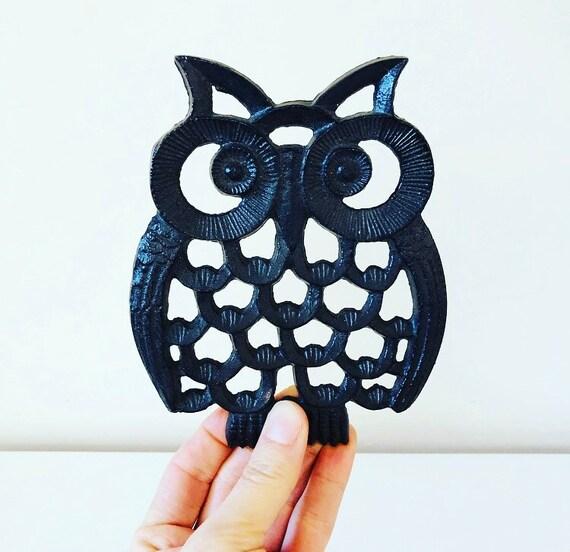 Vintage Owl Trivet Black Cast Iron Owl Trivet