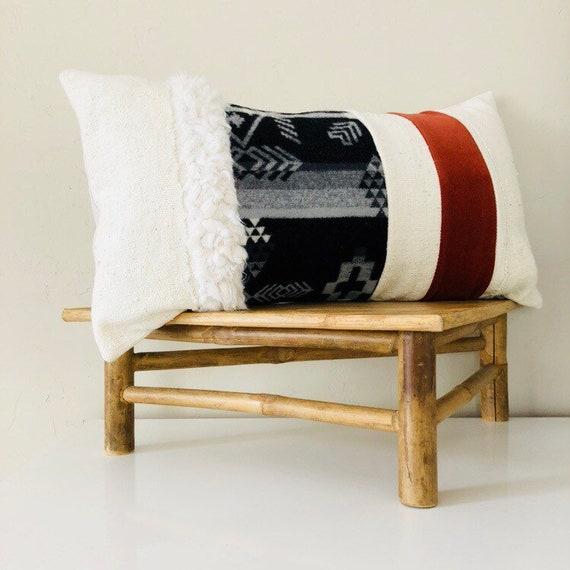 "Boho Black and White Tribal Pillow Cover 14""x24"" Lumbar Geometric Wool Cushion Orange Velvet Pillow Faux Fur White Mudcloth Bohemian Decor"