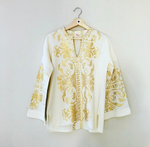 Vintage Gold Embroidered Tunic Ornate Metallic Gold + Ivory Cotton 70s Boho Blouse Size Small Shirt