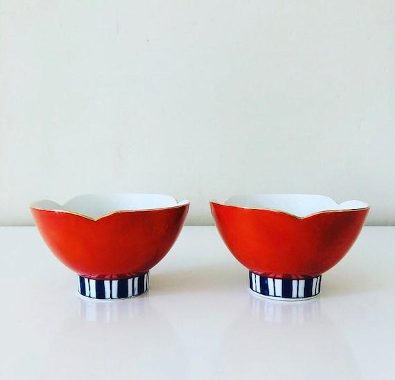 Vintage Orange Lotus Shaped Bowls Set of (2) Japanese Gold Rimmed Ceramic Blue/White Striped Pedestal Bowls