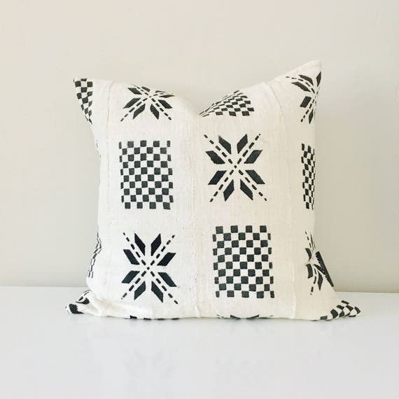 "Boho White Black Tribal Pillow Cover 18""x18"" Square Cushion Pillow Ethnic Bohemian African Geometric Motif MudCloth Boho Pillow"