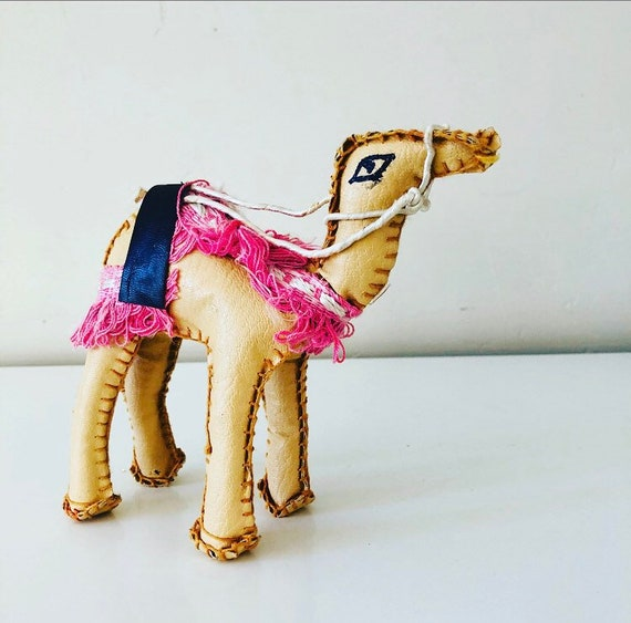 Vintage Leather Camel Figurine Hand Stitched Moroccan Bohemian Folk Sculpture Leather Toy Boho Desert Decor