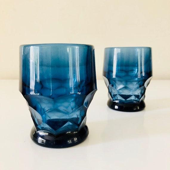 Vintage Blue Glasses Set of (2) Diamond Cut Blue Glass Juice/Rocks Glassware Tumblers Boho Drinkware