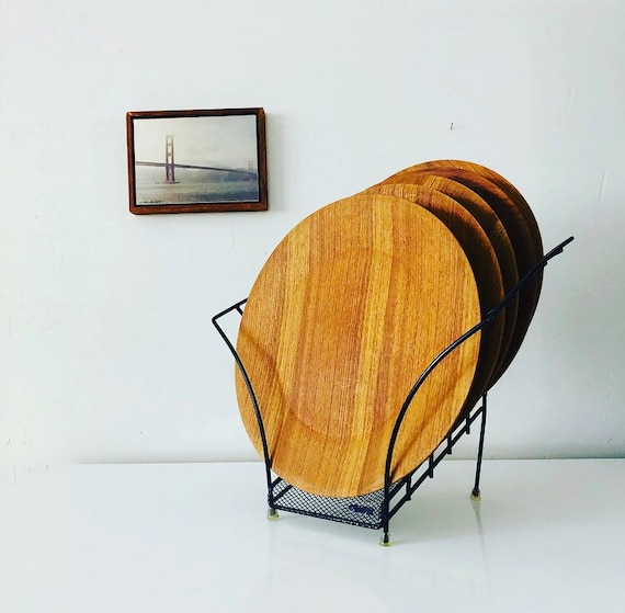 Vintage Teak Wood Plates with Black Wire Rack Set of (6) Mid Century Modern Wooden Dinner Chargers Boho Kitchen and Dining