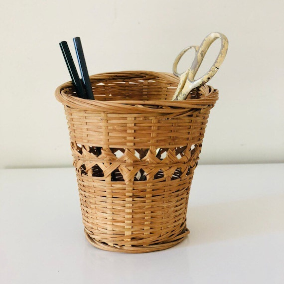 Vintage Rattan Basket Small Decorative Woven Wicker Plant Basket Rattan Storage Basket Organizer  Boho Decor