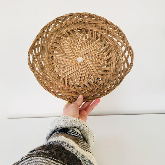 Vintage Woven Wicker Basket Oval Decorative Braided Serving Basket Wall Basket Boho Decor