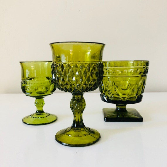 Mixed Collection Vintage Green Glass Goblets Green Glassware Set of (3) Moss Green Mid Century Glass Retro Stemware