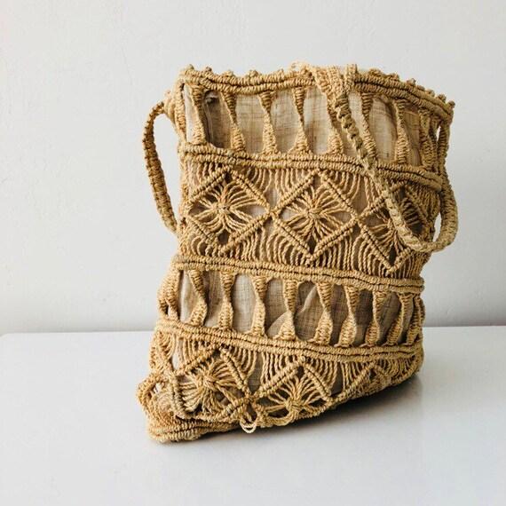 Vintage 70s Macrame Hand Bag Woven Cord Purse Beige Lined Market Bag Bohemian Boho Tote