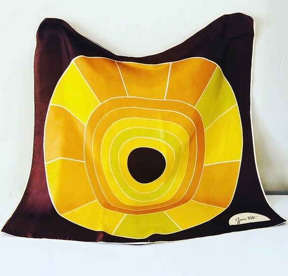 Vintage Geometric Polyester Scarf 1970s Italian JEAN ETE Brown Yellow and Green Retro Circle Fashion Accessory