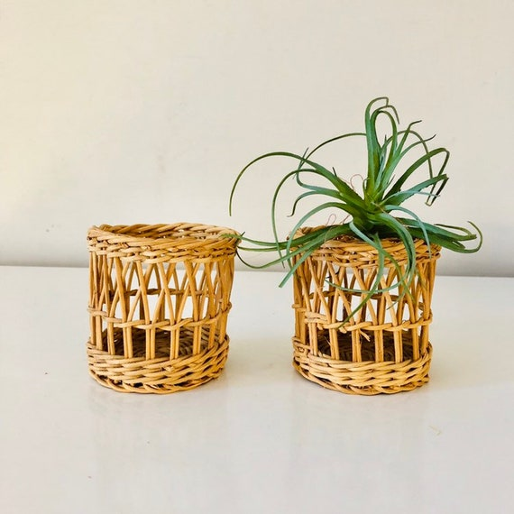 Vintage Wicker Glass/Cup Holders Set of (2) Small Woven Wicker Natural Baskets Boho Decor