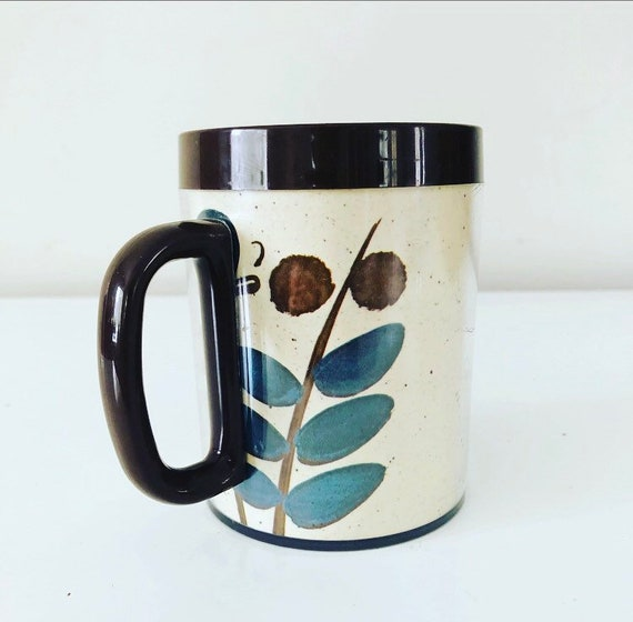 Vintage THERMO SERV Butterfly 80s Plastic Brown + Blue Floral Mug