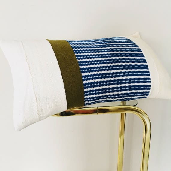 """Vintage Blue White Striped Pillow Cover 14""""x24"""" Lumbar Cushion Cover White Mudcloth Military Green Wool"""