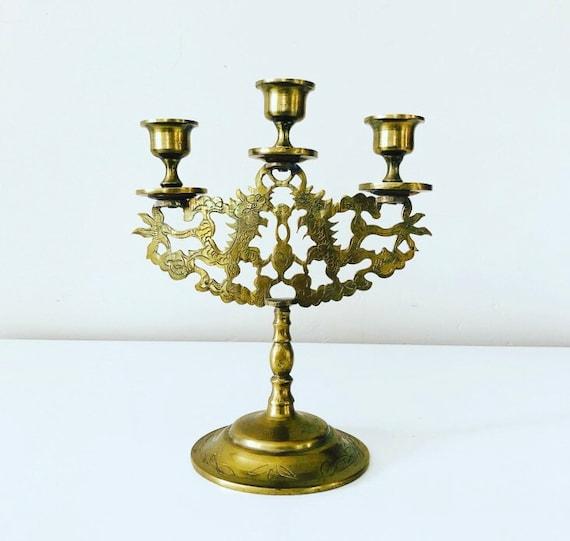 Vintage Etched Brass Candleabra Dragon + Floral