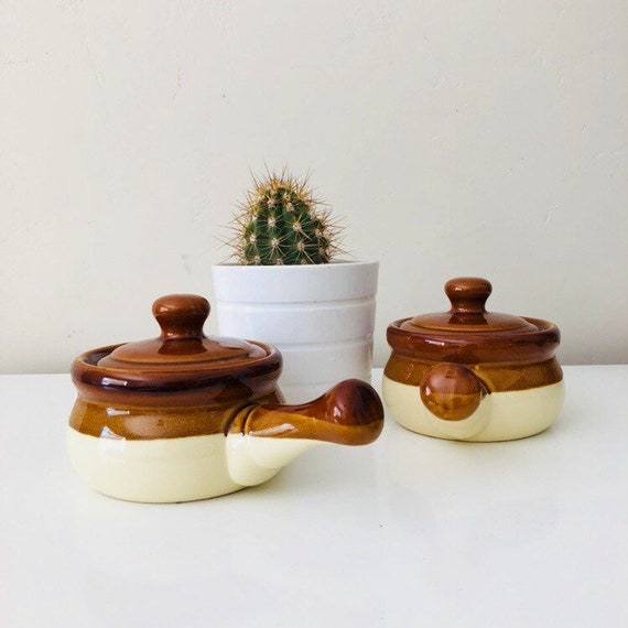 Vintage Brown Ceramic Soup Bowls with Lids and Handle Set of (2) Brown Beige Striped Soup Bowls Made in Taiwan