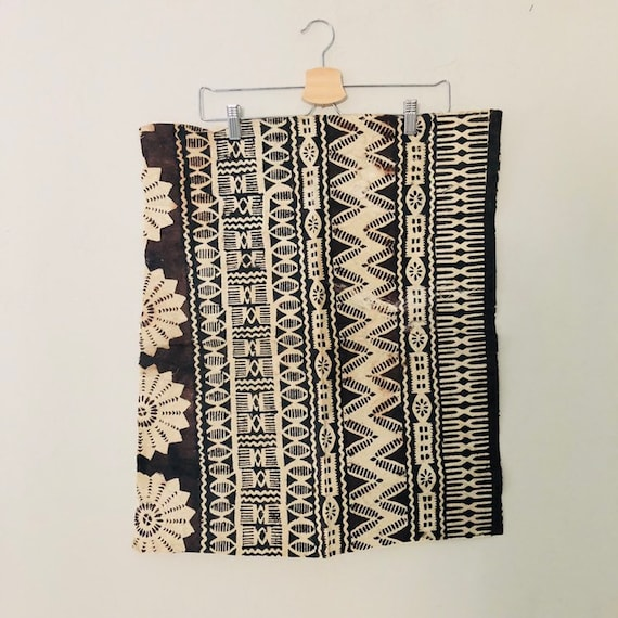 Vintage Polynesian Tapa Cloth Hand Painted Black and Brown Geometric Tribal Bark Cloth Ethnic Wall Hanging Bohemian Boho Decor