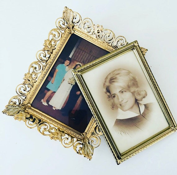 Vintage Gold Metal Frames Set of (2) Decorative Ornate Picture Frames with Photos Medium and Small Sized Frames
