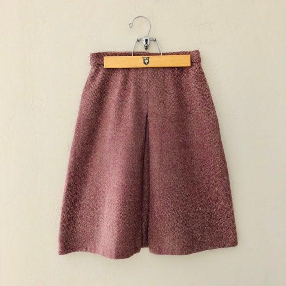 Vintage Maroon Skirt Wool Blend Burgundy Handmade Herringbone Pattern Skirt